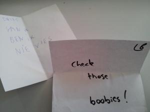 Vreemde boodschappen op de message party